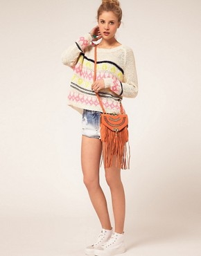 Image 3 ofRiver Island Fringe Leather Bag
