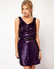 Oasis Sequin Cowl Dress