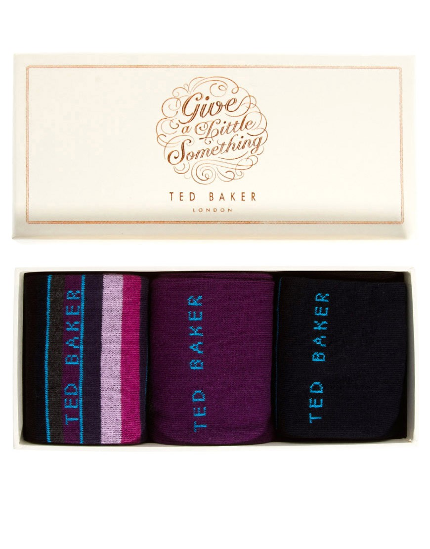 Image 1 of Ted Baker Three Pack Stripe Gift Socks