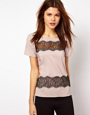Image 1 ofWarehouse Lace Stripe T-Shirt