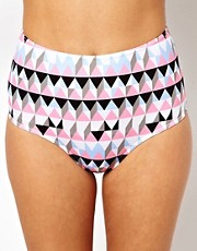 Braguitas de bikini de talle alto con estampado grfico en tonos pastel de ASOS