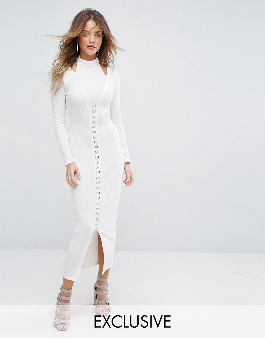 Lavish Alice Ribbed Midi Dress With Hook & Eye Detail - Cream
