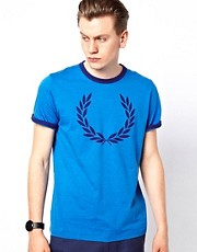 Fred Perry Ringer T-Shirt with Laurel Print