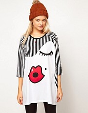 ASOS Oversize Top Stripey Sue Print
