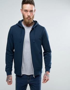 ASOS Zip Up Hoodie In Navy