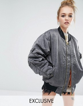 Reclaimed Vintage Oversized Ma1 Bomber Jacket In Acid Wash