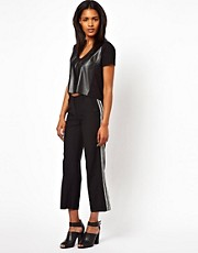 Unconditional Cropped Trousers with Ribbon Detail