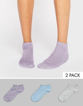 ASOS 3 Pack Pastel Glitter Trainer Socks