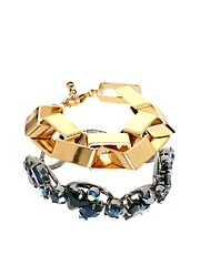 ASOS Premium Mixed Stone & Square Chain Bracelet Pack