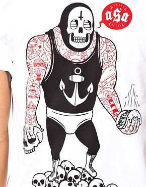 Image 3 ofAbandon Ship T-Shirt with Taco Wrestler Print