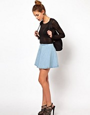 Glamorous Circle Skirt In Light Wash Denim