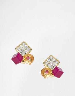 Johnny Loves Rosie Purple Stone Stud Earrings