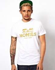 Reason  T-Shirt mit goldenem Homies New York-Aufdruck