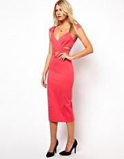 Love Bodycon Midi Dress with Wrap Front