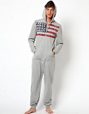 ASOS Onesie With Stars & Stripe Print