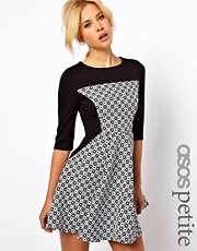 ASOS PETITE Exclusive Skater Dress With Textured Panel