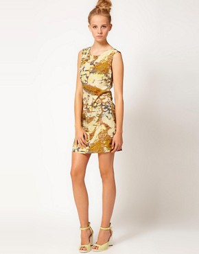 Image 4 ofFiretrap Jinna Feather Print Dress