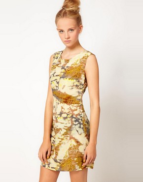 Image 1 ofFiretrap Jinna Feather Print Dress