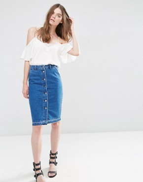 ASOS Denim Slim ButtonThrough Midi Skirt with Let Down Hem