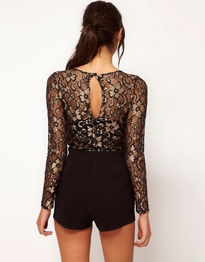 Image 2 ofASOS Playsuit in Metallic Lace