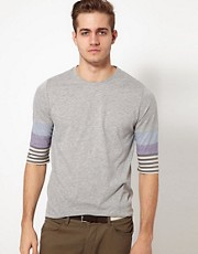 ASOS 3/4 Sleeve T-Shirt With Cut And Sew Stripe Sleeves