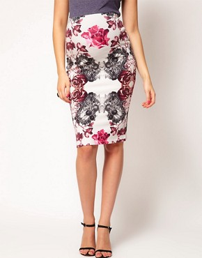 Image 4 ofASOS Maternity Pencil Skirt in Rose and Lace Print