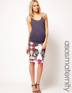 Image 1 ofASOS Maternity Pencil Skirt in Rose and Lace Print