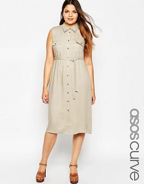 ASOS CURVE Belted Shirt Midi Dress With Pockets