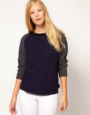 Vanessa Bruno Ath Cable Knit Jumper with Contrast Sleeve
