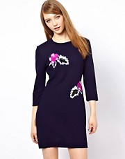 Markus Lupfer Hawaiian Flower Embellished Dress