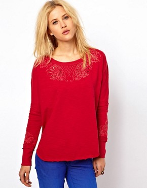Image 1 of Free People Embroidered Sweatshirt with Open Back Detail