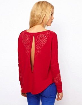 Image 2 of Free People Embroidered Sweatshirt with Open Back Detail