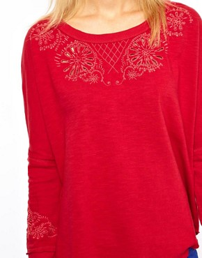Image 3 of Free People Embroidered Sweatshirt with Open Back Detail