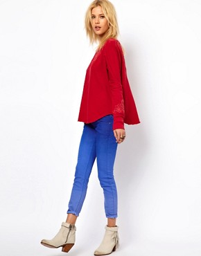 Image 4 of Free People Embroidered Sweatshirt with Open Back Detail