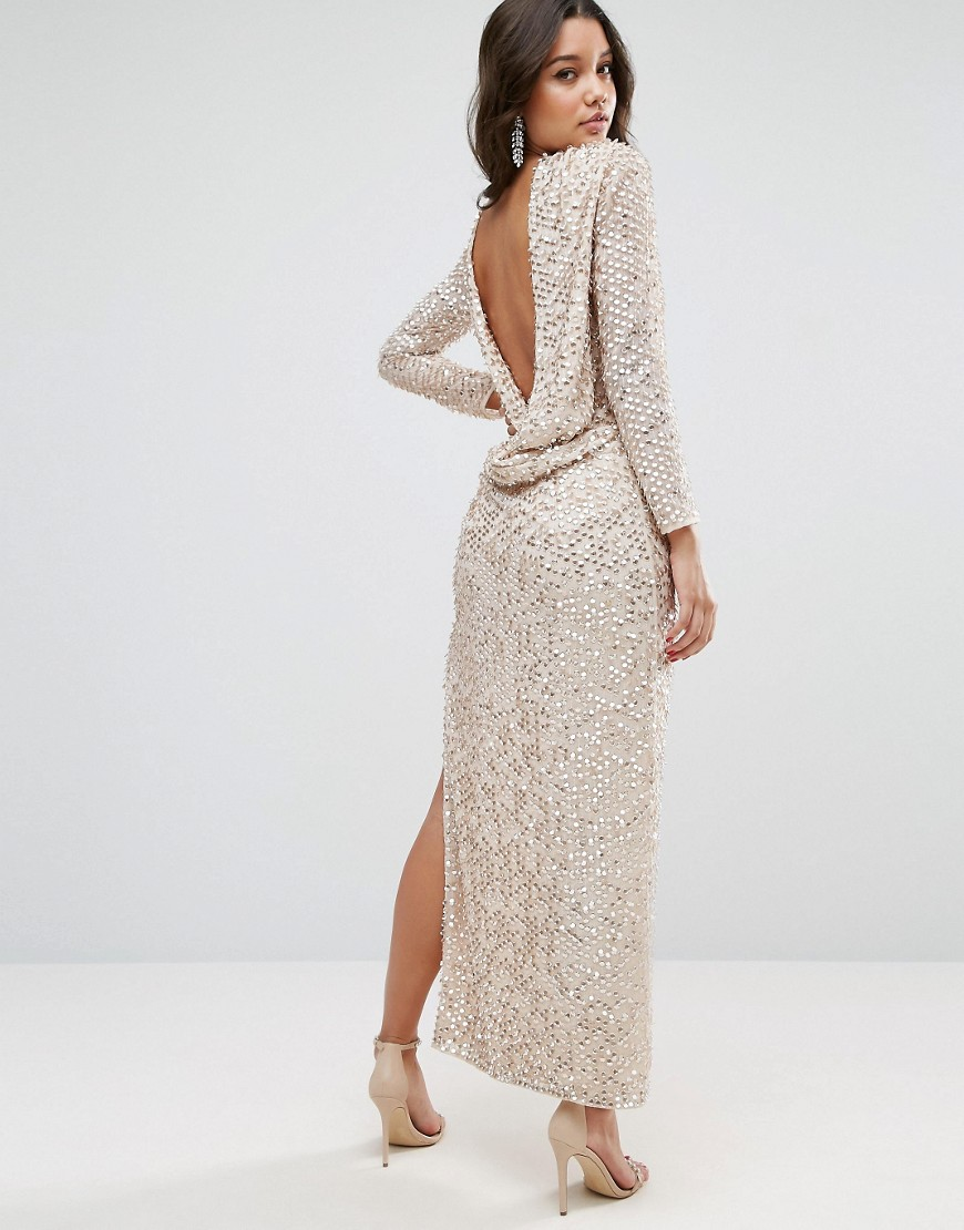 ASOS All Over Sequin Cowl Back Maxi Dress - Silver