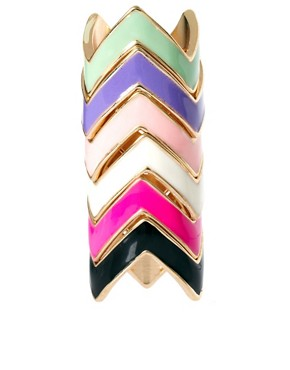 Image 1 ofASOS Multi Pack Enamel Zig Zag Rings