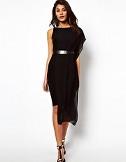 ASOS Belted Bodycon Dress with Chiffon Drape