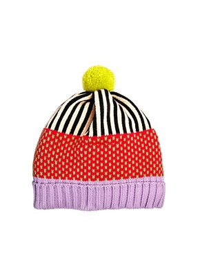 Image 2 ofAll Knitwear Strawberry Stripe Bobble Hat
