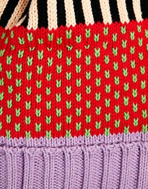 Image 3 ofAll Knitwear Strawberry Stripe Bobble Hat