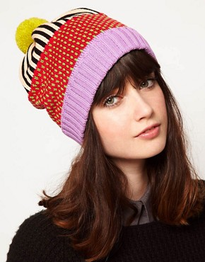 Image 1 ofAll Knitwear Strawberry Stripe Bobble Hat