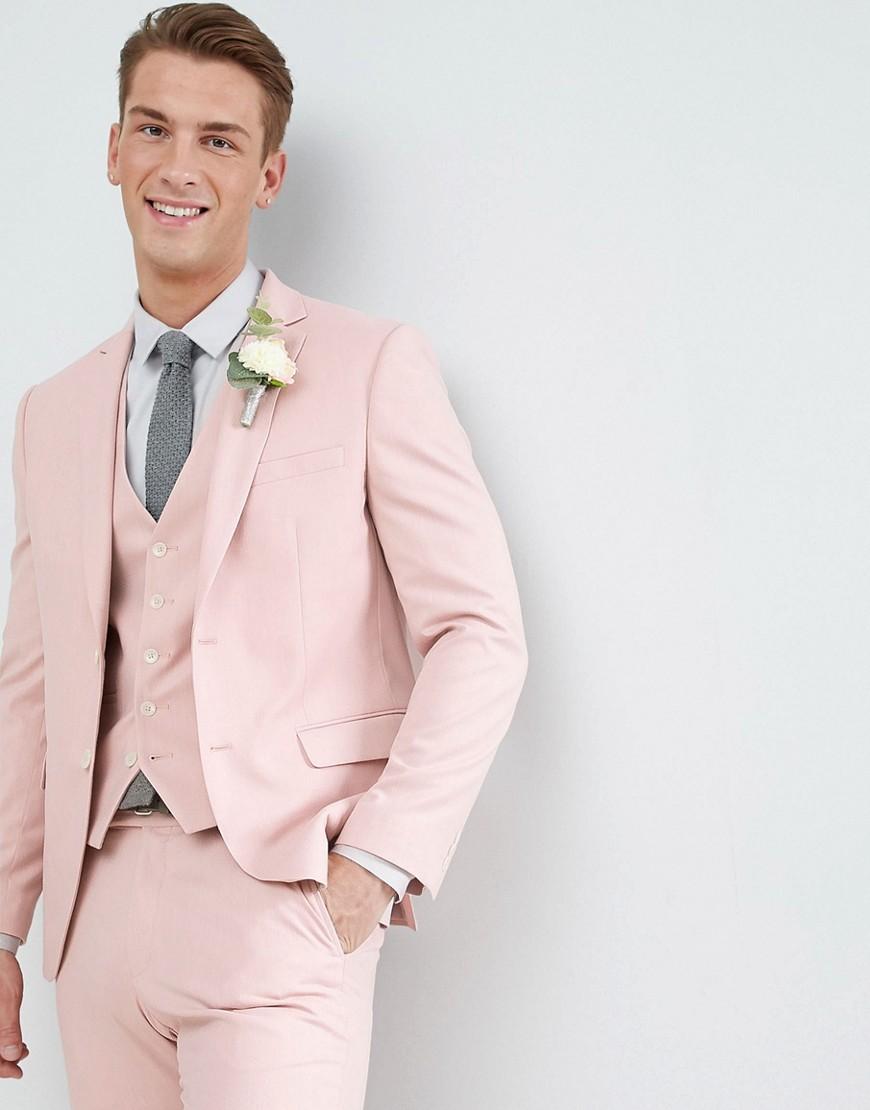 Светло-розовый пиджак скинни Moss London Wedding - Розовый MOSS BROS