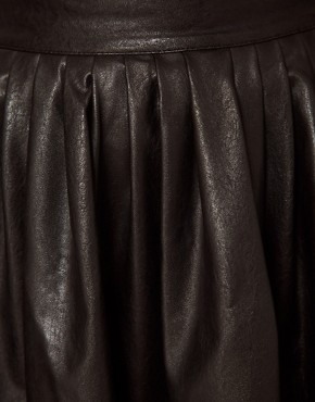 Image 3 ofHearts &amp; Bows Leather Look Skater Skirt