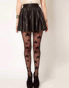 Image 4 ofHearts &amp; Bows Leather Look Skater Skirt
