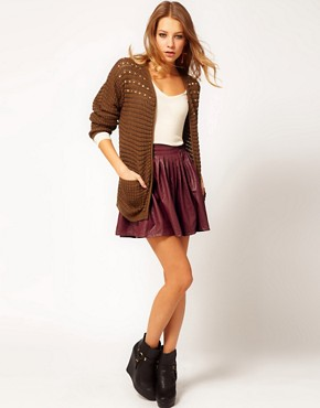 Image 1 ofHearts &amp; Bows Leather Look Skater Skirt