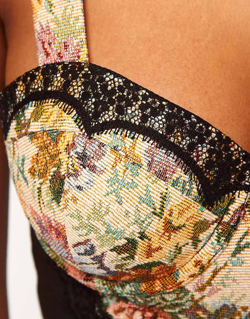 Image 3 of ASOS Cropped Corset With Tapestry And Lace Trims