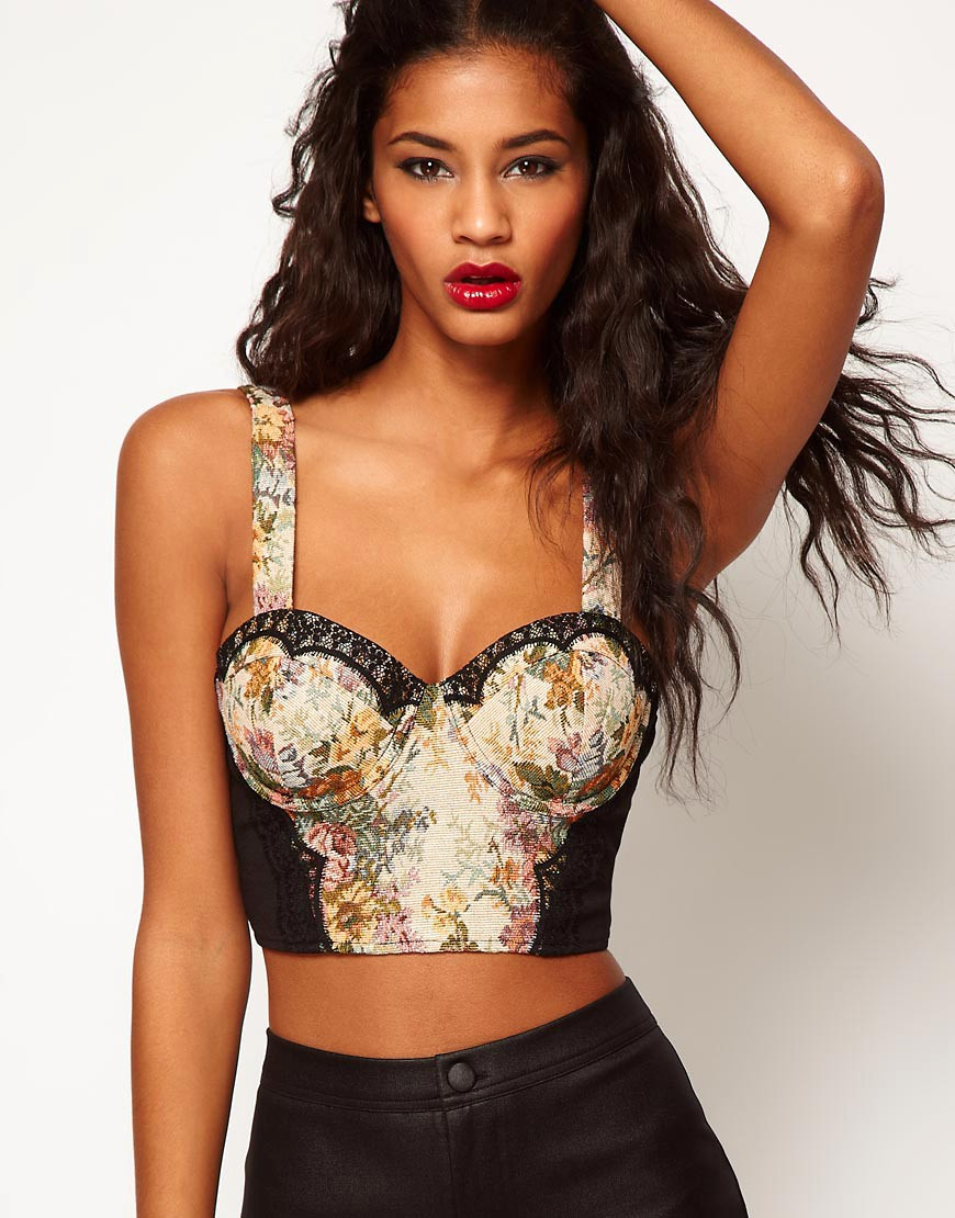 Image 1 of ASOS Cropped Corset With Tapestry And Lace Trims