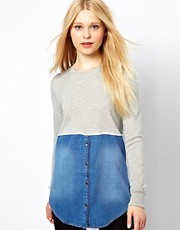 River Island Denim And Sweat Tunic