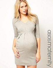 ASOS MATERNITY  Strickkleid mit V-Ausschnitt und Falten an der Taille