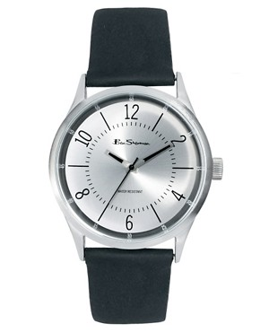 Image 1 ofBen Sherman Silver Dial Leather Strap Watch
