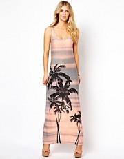 Vila Palm Tree Print Maxi Dress